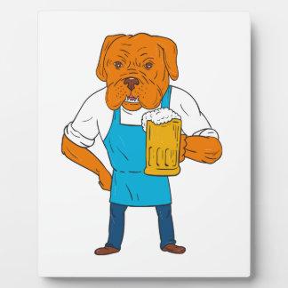 Bordeaux Dog Brewer Mug Mascot Cartoon Plaque