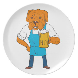 Bordeaux Dog Brewer Mug Mascot Cartoon Plate