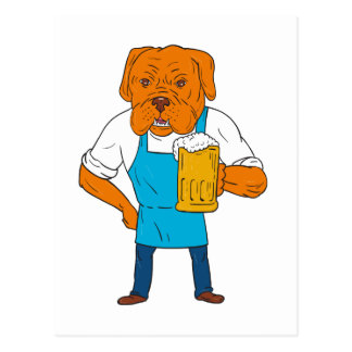 Bordeaux Dog Brewer Mug Mascot Cartoon Postcard