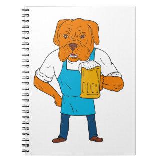Bordeaux Dog Brewer Mug Mascot Cartoon Spiral Notebook