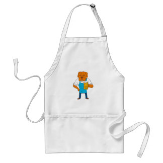 Bordeaux Dog Brewer Mug Mascot Cartoon Standard Apron
