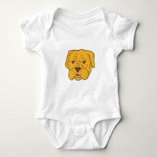 Bordeaux Dog Head Cartoon Baby Bodysuit