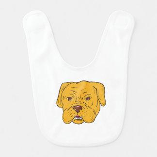 Bordeaux Dog Head Cartoon Bib