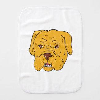Bordeaux Dog Head Cartoon Burp Cloth