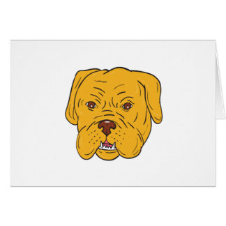 Bordeaux Dog Head Cartoon Card