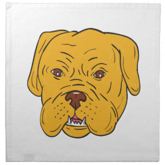 Bordeaux Dog Head Cartoon Napkin