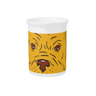 Bordeaux Dog Head Cartoon Pitcher