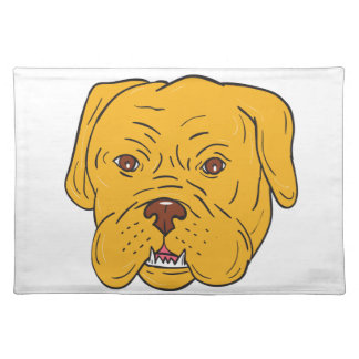 Bordeaux Dog Head Cartoon Placemat