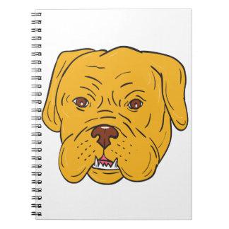Bordeaux Dog Head Cartoon Spiral Notebook