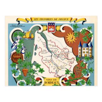Bordeaux, France Vintage Map Postcard