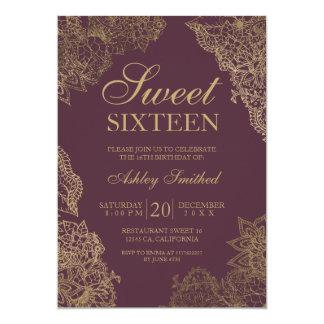 Bordeaux gold floral elegant Sweet sixteen Card