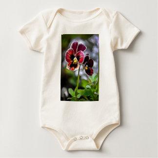 Bordeaux Pansy Flower Duo Baby Bodysuit