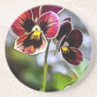 Bordeaux Pansy Flower Duo Coaster
