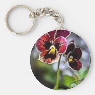 Bordeaux Pansy Flower Duo Key Ring