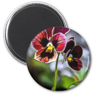Bordeaux Pansy Flower Duo Magnet