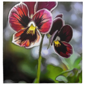 Bordeaux Pansy Flower Duo Napkin
