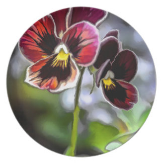 Bordeaux Pansy Flower Duo Plate
