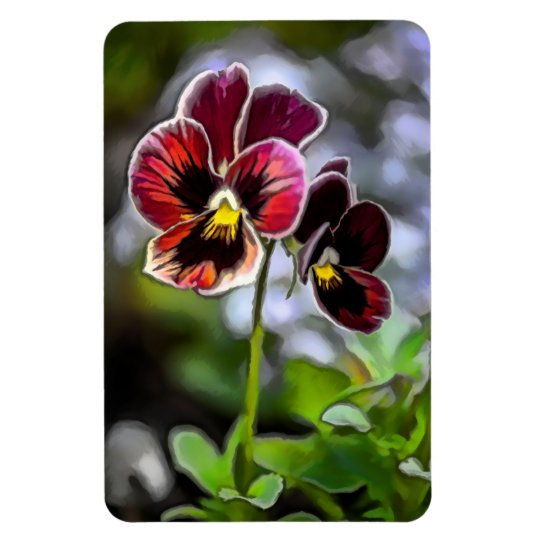 Bordeaux Pansy Flower Duo Rectangular Photo Magnet