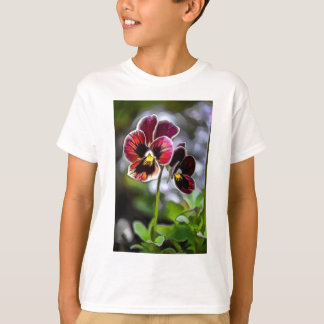 Bordeaux Pansy Flower Duo T-Shirt