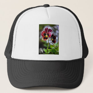 Bordeaux Pansy Flower Duo Trucker Hat