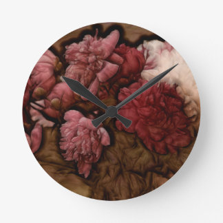Bordeaux Peony Flower Bouquet Round Clock
