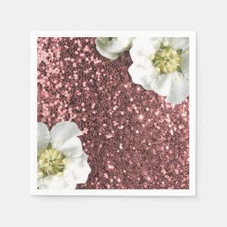 Bordeaux Rose Pink Sparkly Jasmine Glitter Sequin Disposable Serviette