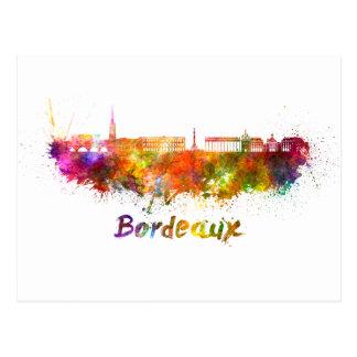 Bordeaux skyline in watercolor postcard