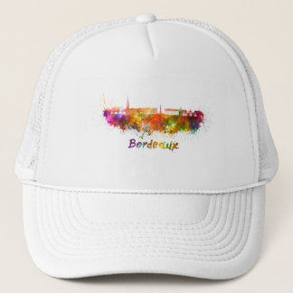 Bordeaux skyline in watercolor trucker hat