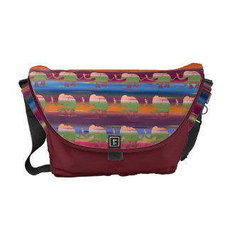 Bordeaux Striped Jungle Rainbow Colored Elephants Messenger Bag