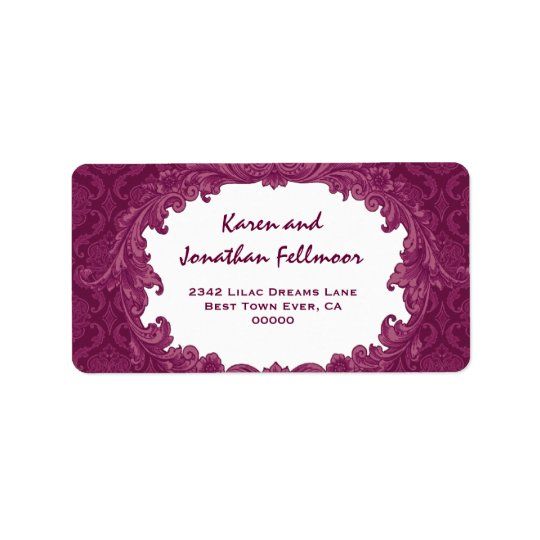 Bordeaux Vintage Curlicue Damask S463 Label