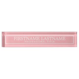Border Blush Pink Basic Name & Professional Title Nameplate