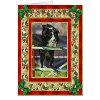 Border Collie Agility Blank Christmas Card