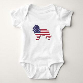 "Border collie - ""american flag"" baby bodysuit"