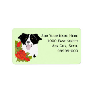Border Collie and Red Roses Address Label