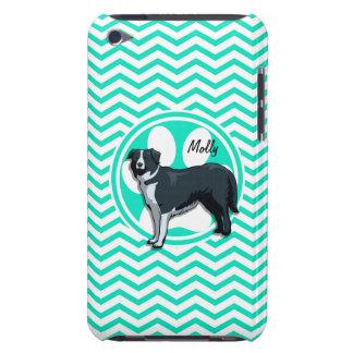 Border Collie Aqua Green Chevron iPod Touch Case-Mate Case