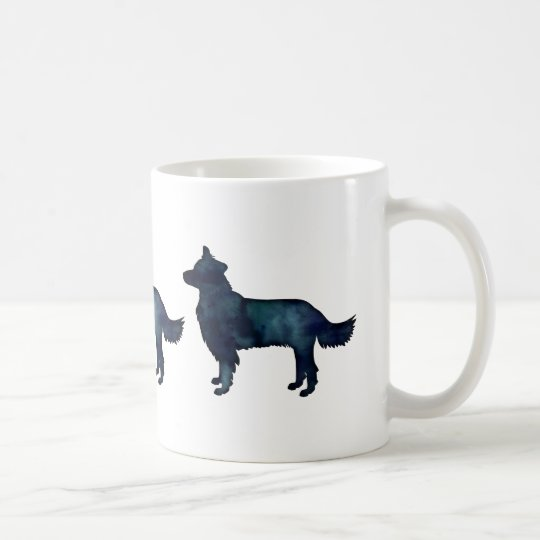 Border Collie Black Watercolor Silhouette Coffee Mug