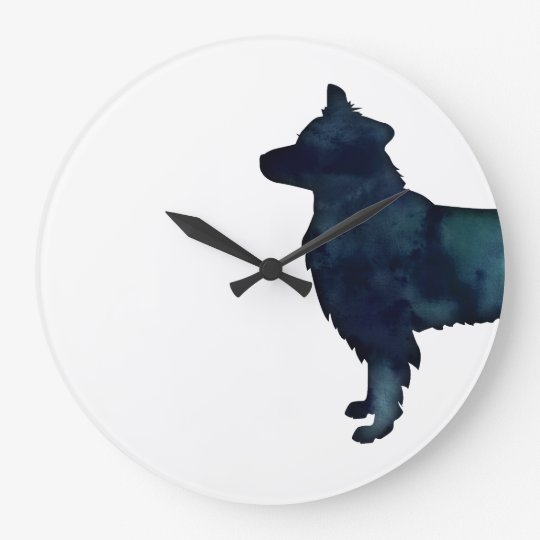Border Collie Black Watercolor Silhouette Large Clock