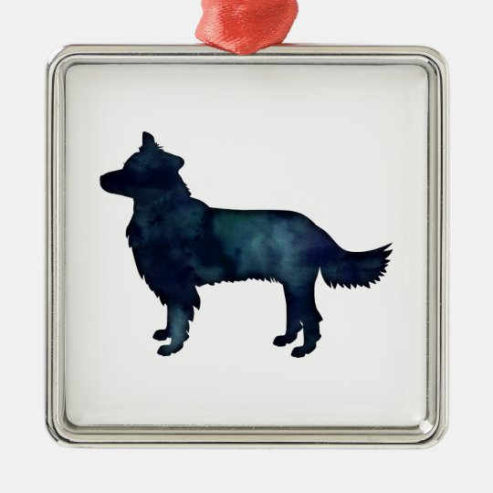 Border Collie Black Watercolor Silhouette Metal Ornament