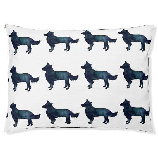 Border Collie Black Watercolor Silhouette Pet Bed