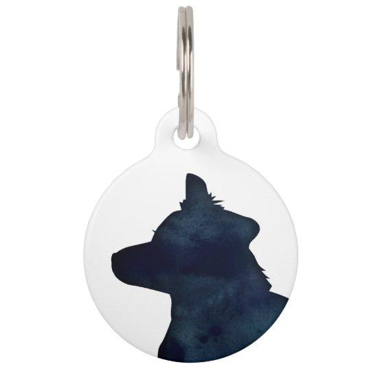 Border Collie Black Watercolor Silhouette Pet Name Tag