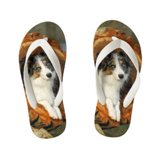 Border Collie Blue Merle Dog Head Photography Pet Kid's Thongs