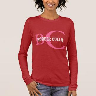 Border Collie Breed Monogram Design Long Sleeve T-Shirt