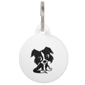 border collie bw cartoon pet tag