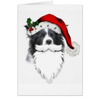 Border Collie Christmas Card~Santa With Beard Greeting Card