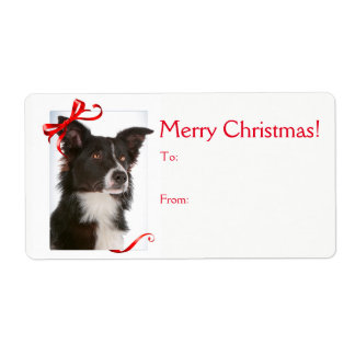 Border Collie Christmas Gift Stickers Shipping Label