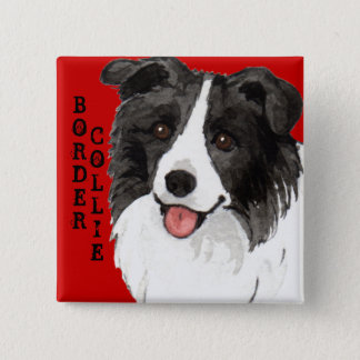 Border Collie Color Block 15 Cm Square Badge