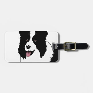 Border Collie Customize Text Background Color Bag Tag