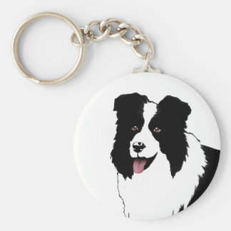 Border Collie Customize Text Background Color Basic Round Button Key Ring