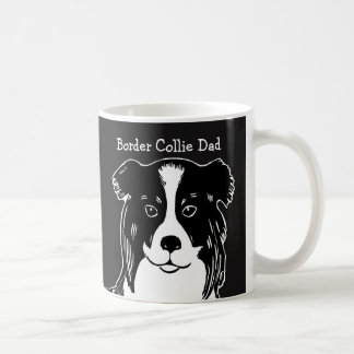 Border Collie Dad Black and White Mug