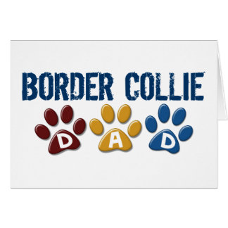 BORDER COLLIE DAD Paw Print Greeting Cards
